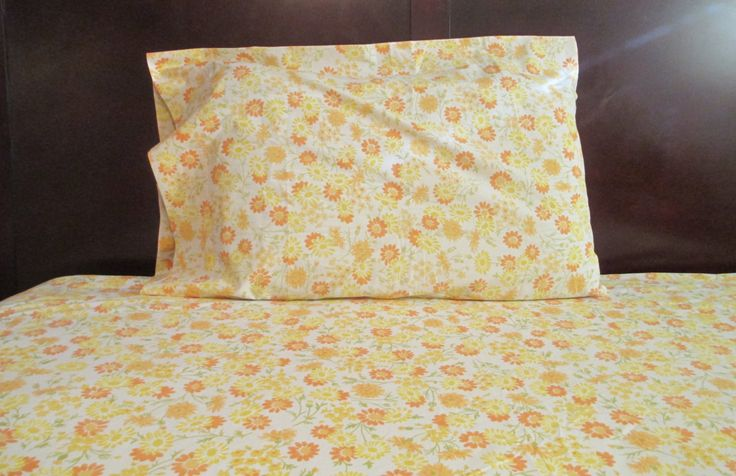 Yellow Flower Sheets, Vintage Floral Sheet Set, Orange Floral Bedding, Twin Sheet Set, Flower Power Sheets, Flat Sheet, Fitted Sheet by LuckyPennyTrading on Etsy