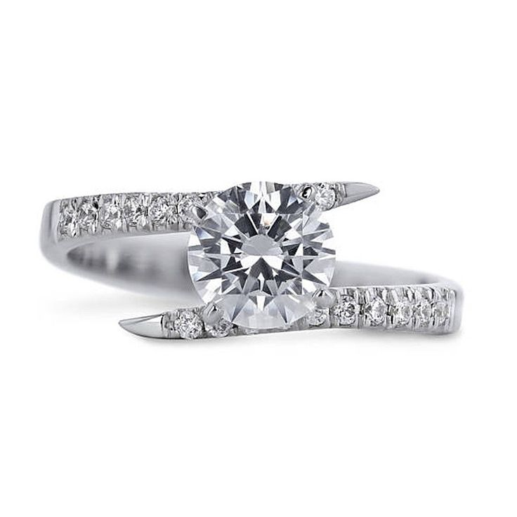 Round Cut 1.40 Ct Diamond Solitaire 14K White Gold Engagement Rings Size 4 5 6 7 #Caratforever #SolitairewithAccents