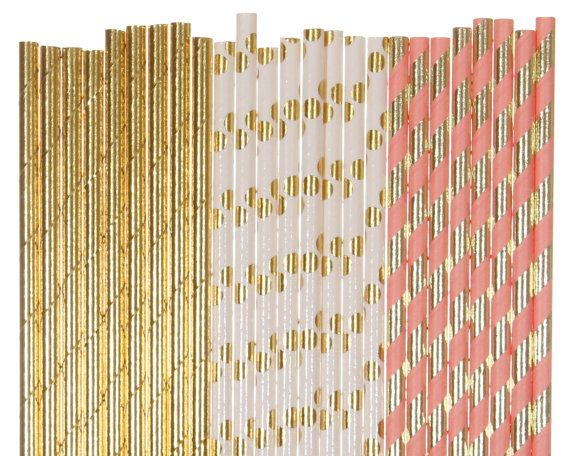 Paper Straw Mix, Blush and Gold Striped Polka Dot Paper Straws, Peach Bridal Shower, Glam 1st Birthday Decoration, Coral Gold Foil Straws