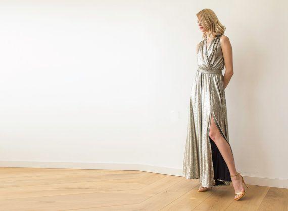 Metallic Maxi Dress Maxi sleeveless dress with by BLUSHFASHION