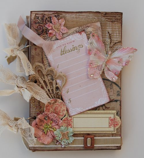 vintage mini album with pinks and butterflies