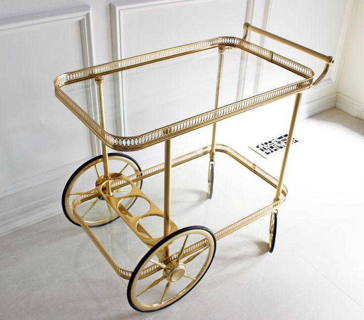 AM Dolce Vita: Major Score: Bagues Brass Bar Cart, Vintage Maison Bagues brass bar cart