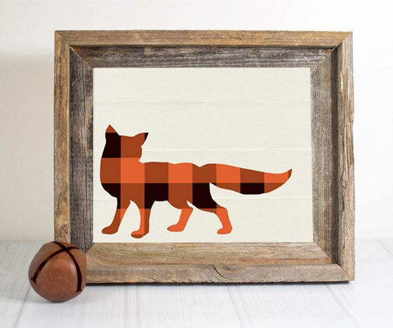 PlaidFox Bear-- nursery print, woodland print, rustic wall art, rustic nursery, Fox nursery, rustic print, rustic home decor, plaid on Etsy, $12.00
