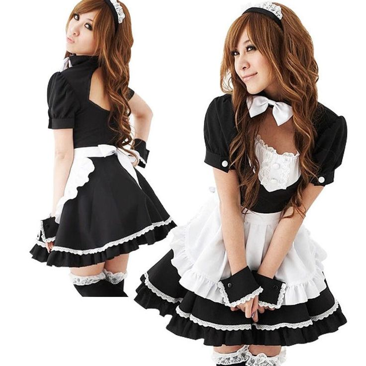 Adult Japanese Sweet Maid Dress Cosplay Maid Costume Sexy Lolita Apron Dress Set #Unbrand #Dress