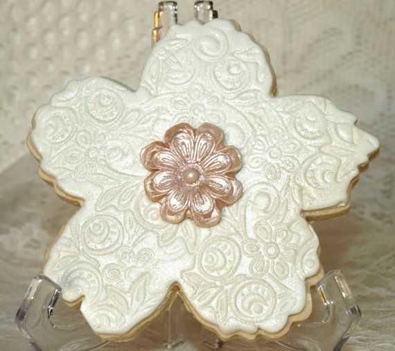 Decorated Wedding Cookie Flower Shape by TwoSweetChicks on Etsy