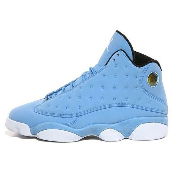 Air Jordan 13 University Blue Black White ❤ liked on Polyvore featuring shoes, jordans and sneakers