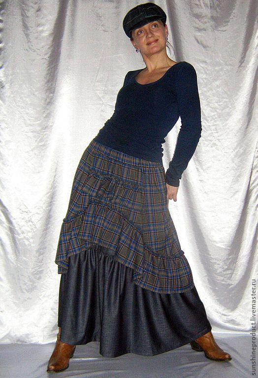 """Купить Юбка """"Богемная весна в джинсовом цвете"""" - синий, в клеточку, весенняя мода, модная юбка"""