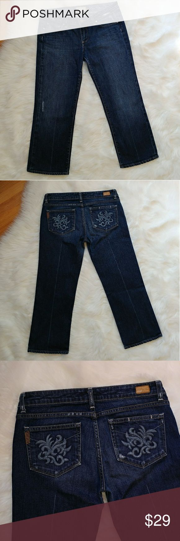 """PAIGE premium denim Laurel Canyon crop jeans PAIGE premium denim Laurel Canyon crop jeans  In good condition  Has a some wear on the inseam (pictured) Measuments taken laying flat across: Inseam 23"""" Front rise 8"""" Waist 16"""" Paige Jeans Jeans"""