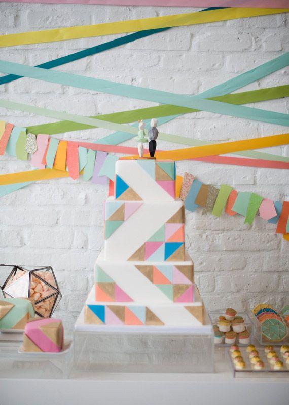 modern geometric wedding cake | photo by Amanda Megan Miller | 100 Layer Cake #geometric