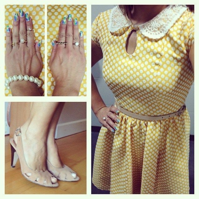 Yellow dress with white dots from Primark, nude slingback peep-toes from Topshop, rings from Stella & Dot, H&M, Forever 21
