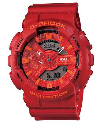 G-Shock Watch, Men's Analog-Digital Red Resin Strap 51x55mm GA110AC-4A - Men's Watches - Jewelry & Watches - Macy's