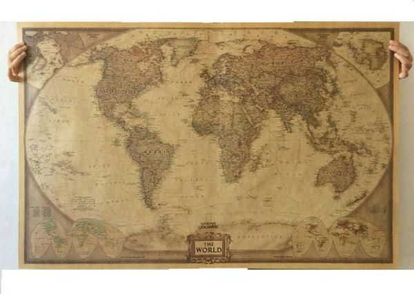 World Map Vintage Style Kraft Paper Poster - Lucky's Outlet