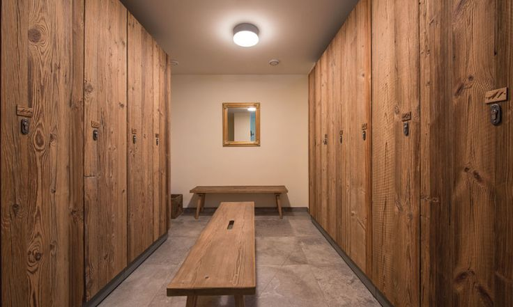 Ski and boot room with boot warmers and private lockers #luxurychalet #skiholiday #stanton