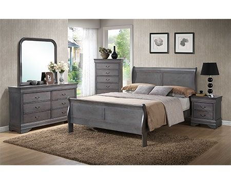 A mix of traditional and modern with this grey sleigh bedroom set