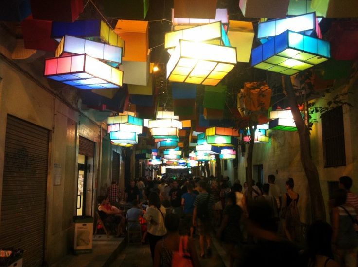 Fiesta de Gracia. Biggest Festival in Barcelona. Rubik's cube lamps illuminate the festivities.