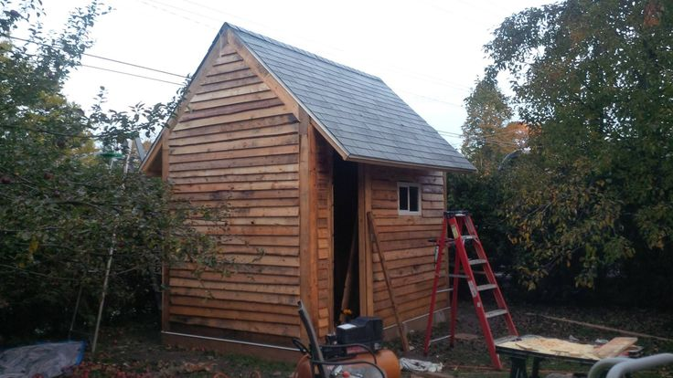 8 X 12, 45 degree roof.  A lot of work.