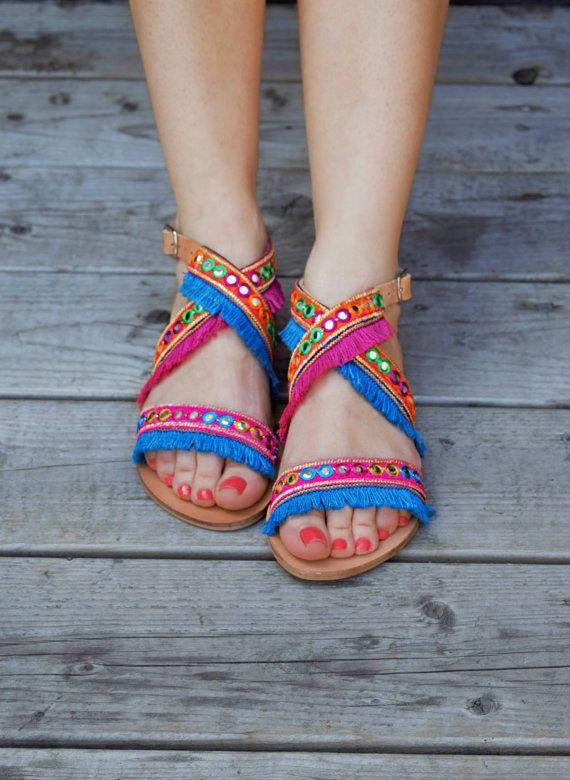 Bohemian Sandals Leoni Fringe Sandals by SandalsofLove on Etsy