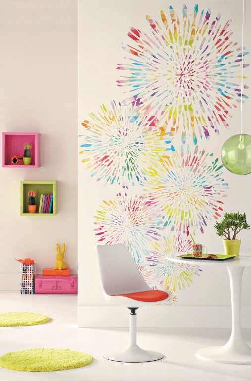 Multi-coloured bursts of colour on a wallpaper mural designed to brighten a plain wall. From the Trendy Panels collection, Pop TDP65275045. This is a Guthrie Bowron exclusive range in NZ.