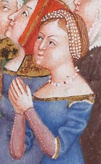 """Missale et Horae ad usum  Fratrum Minorum  (1385- 90, BNF Latin 757, 258v.) Fanciulla con terzolla e collana. / A lady with a """"terzolla"""" and necklace"""