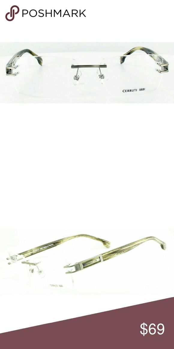 Cerruti 1881 rimless frames Brand new authentic Cerruti 1881 rimless frames. Brushed silver metal frames, with gloss marble light brown acetate arms. Precision spring hinges and adjustable nose pads for a comfort fit. Made in France. Comes with original case Cerruti Accessories Glasses