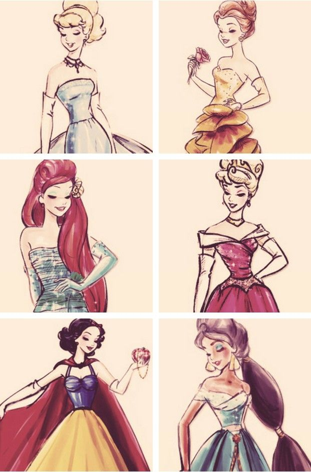 Disney princess sketches, and beautiful ones at that. I love how Aurora 's dress in these sketches is always essentially the same. Why mess with a good thing?