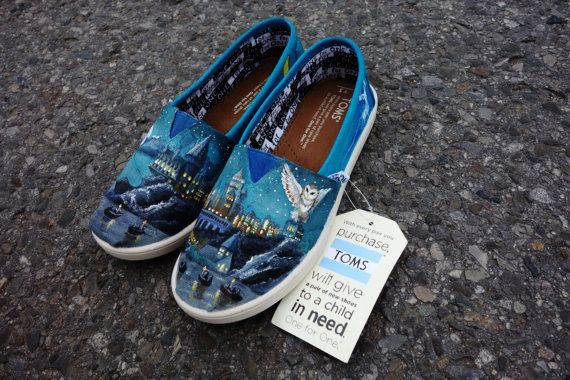 Harry Potter Hogwarts Custom Painted TOMS for Ashley by CestlaVic
