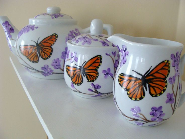 Monarch Butterfly and Lilacs Teapot Set Hand Painted by CANADIANCREATIONZ on Etsy