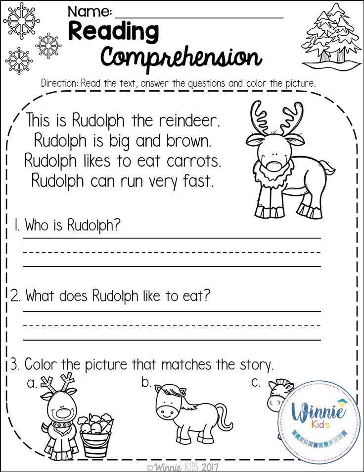 FREE 3 PAGES!!! Kindergarten Reading Comprehension Passages - Winter