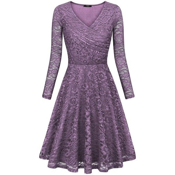 Laksmi Womens Elegant Floral Lace Long Sleeve Fit and Flare A Line... (775 CZK) ❤ liked on Polyvore featuring dresses, purple floral dress, floral fit and flare dress, purple dress, long sleeve dress and purple lace dress