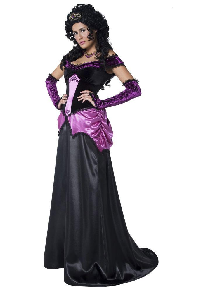Yön kreivitär. Musta mekko on koristeltu violetein yksityiskohdin.