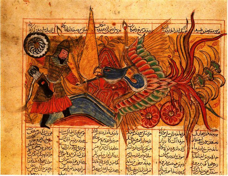 Combat between Isfandiyar and Simurgh  Shah-nama (Firdawsi's 'Book of Kings').  Shiraz, 1330.  Hazine 1479, folio 145a
