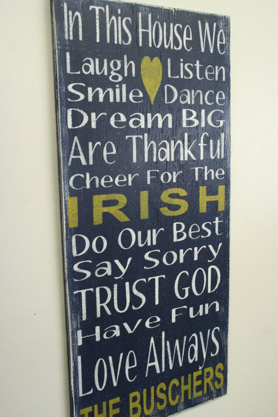 Irish Team Sign Family Rules Sign Personalized Name Sign