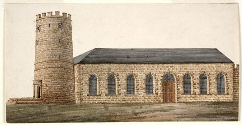 St Philip's Church of England, Church Hill, Sydney 1809, where effigies of Bligh were burnt, and the first burial place of his son-in-law Lt. John Putland. Reproduced courtesy of Mitchell Library, State Library of NSW.