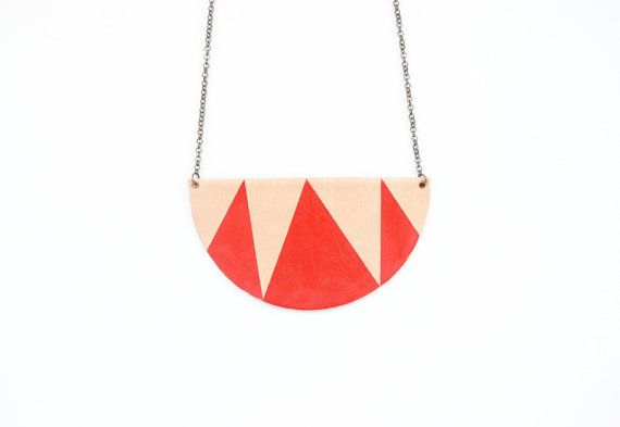 Half moon necklace leather necklace red mountains by elfinadesign