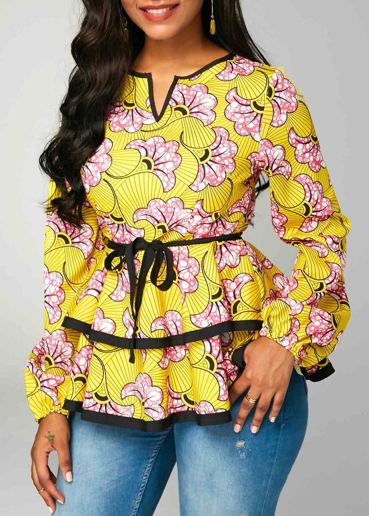 Split Neck Layered Belted Long Sleeve Blouse