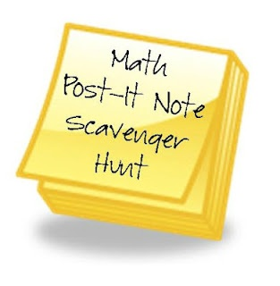 Fun! I'm going to do this for fluency next time I do math workshop in my class!  You need as many Post-its as problems you will give, a Sharpie marker, and a pencil. Write the the first problem on the front of a Post-it note at the start (maybe this one is a different color). Now write the answer on another Post-it with a new problem on the underneath (in pencil). Students have to work problems and then search for the answers. Great way to get students doing math and get them up and moving!