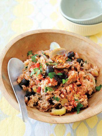 カツオ、アジ、タコ、イカ、アサリ】春~夏が食べごろです。旬の魚の ... トマトとたこの炊き込みごはんレシピ炊飯器に材料を入れてでき