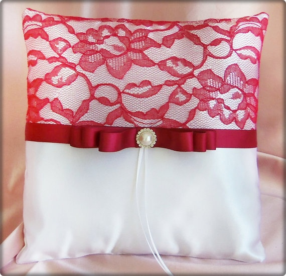 Red Lace Wedding Ring Bearer Pillow Red and White