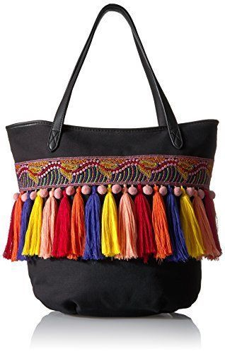 Circus Sam Edelman Clyde Large Black Zip Tote NWT Pom Pom Embroidery Tassels  #CircusbySamEdelman #TotesShoppers
