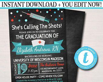 Editable Nurse Graduation Invitation Chalkboard Printable Digital College Grad Invite Graduation Party, RN Announcement, INSTANT DOWNLOAD