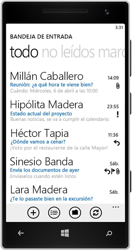 Windows Phone con la bandeja de entrada de Outlook.com.