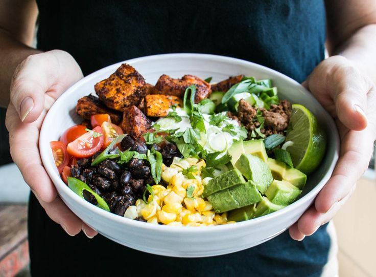Sweet Potato Taco Bowl | My Kitchen Love. Replace ground beef with veg crumble for vegetarian. Add spinach and salsa