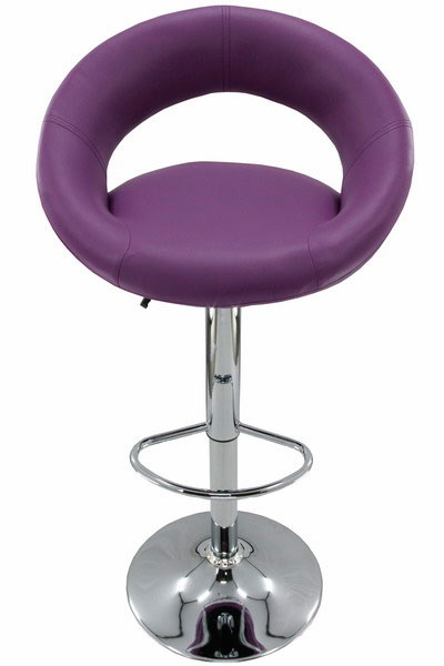 Purple bar stool.  Fully height adjustable and with a foot rest this swivel bar stool will suit you in comfort. The seat is wide with lots of padding inside to assure you can enjoy that drink in comfort.  For more photos and details, visit us on http://www.scauneonline.ro/scaune-bar-abs-151 !