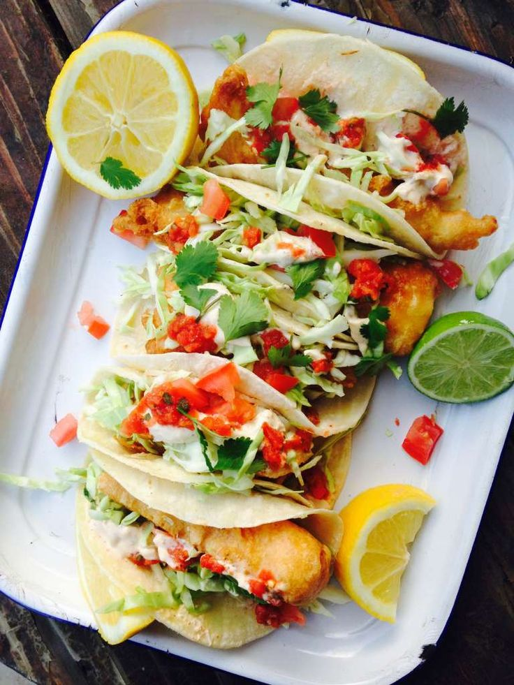 Beer Battered Fish Tacos with Chipotle Tartar sauce. Great summer meal, would be perfect for Cinco de Mayo. The chipotle tartar sauce adds a nice kick. Serve it with some shredded cabbage and salsa and you have one killer fish taco.