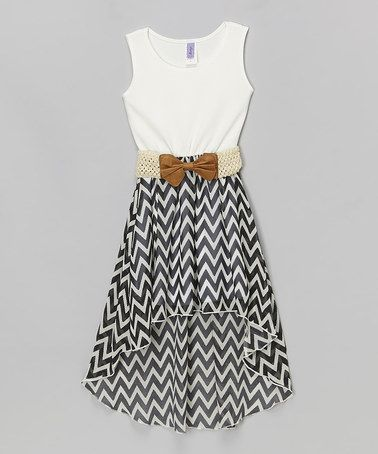 Loving this Black & White Chevron Belted Hi-Low Dress - Girls on #zulily! #zulilyfinds