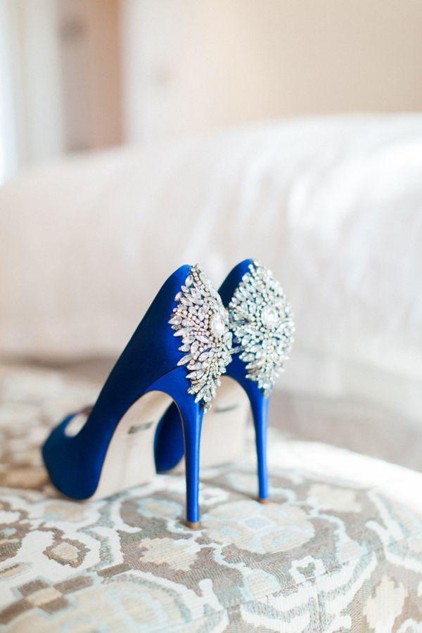 Royal blue Badgley Mischka embellished pumps: http://www.stylemepretty.com/california-weddings/santa-barbara/2016/10/28/intimate-santa-barbara-wedding-2/ Photography: Gloria Mesa - http://gloriamesa.com/