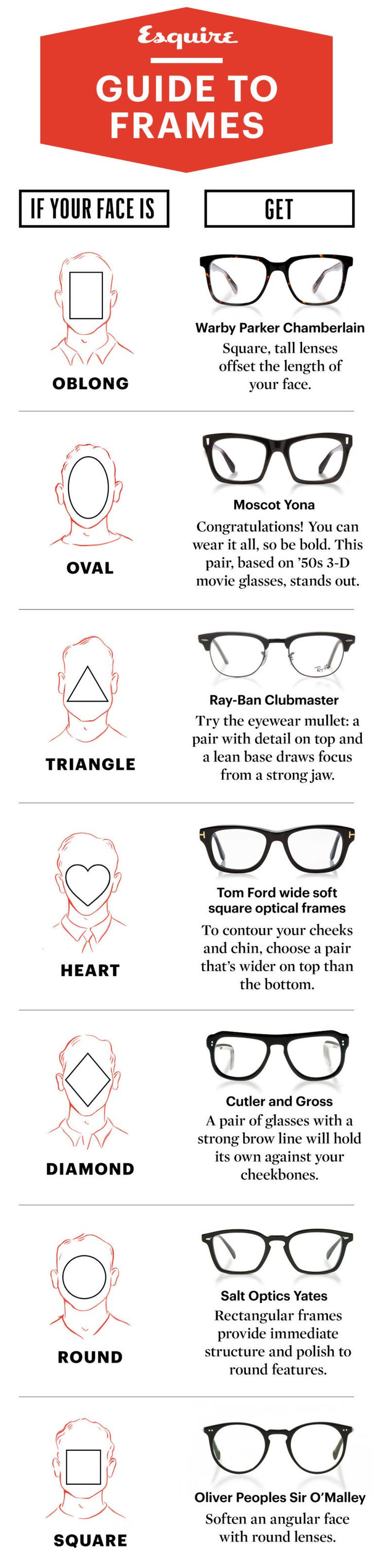 Follow these few simple guidelines for identifying the general shape of your face and the types of frames that are likely to work, so you can narrow down the pool in some simple steps. The perfect, perfect pair for you might still be that mythical unicorn out there, but at least this way, you can get a jump start on the hunt.