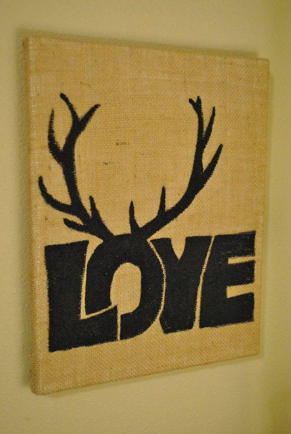 Love Inspired Burlap Antler Art by TLNCreations on Etsy, $30.00