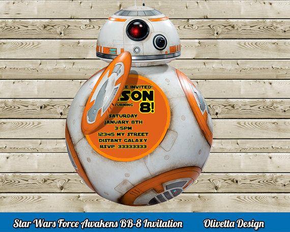 Star Wars Invitation Force Awakens Invitation for Birthday Party BB-8 Invitation - Digital File