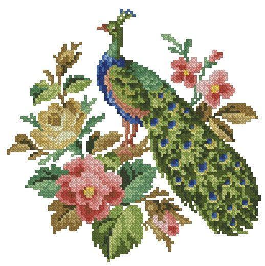 Peacock in flowers cross stitch vintage pattern for por Smilylana